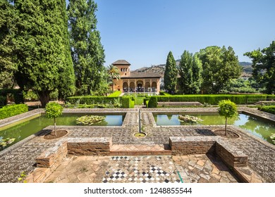 Granada, Spain - June 25, 2018: Alhambra Palace outdoors view in Granada, Andalucia.