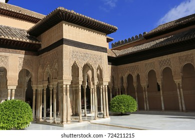 GRANADA, SPAIN - JUNE 27, 2017: Alhambra Palace, court of the Lions architecture in Granada, Spain