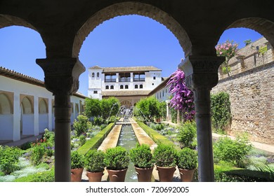 GRANADA, SPAIN - JUNE 29, 2017: A recreation house of the sultans of Granada, surrounded by orchards and gardens