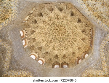 GRANADA, SPAIN - JUNE 29, 2017: Alhambra, the complete Arabic form of which was Qalat Al-Hamra, is a palace and fortress complex built in the mid-13th century by the Moorish emir Mohammed ben Al-Ahmar