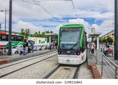 "GRANADA, SPAIN - JUNE 5, 2018: Granada Metro (correct name should be Light Metro or Trams because only three stops are underground). Ground station ""Granada Bus Station"" on Metropolitano de Granada."