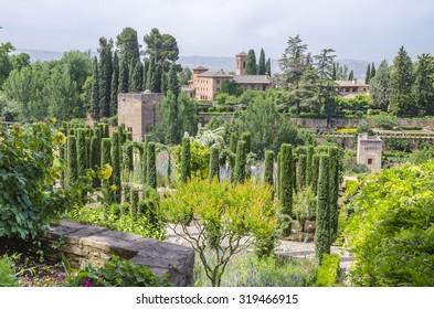Granada, Spain - Mai 29, 2015: Alhambra de Granada. El Partal, amazing area of gardens.