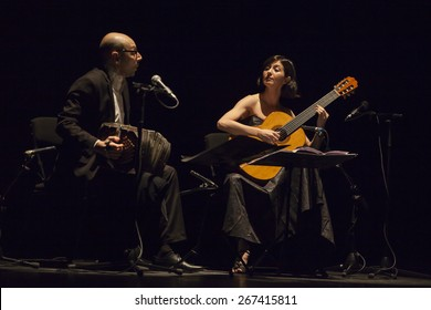 GRANADA - SPAIN, MARCH 13, 2015: XXVII International Tango Festival. Mirta Alvarez, guitar, and Fabian Carbone, bandoneon.