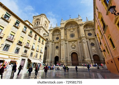 GRANADA, SPAIN, March 21, 2017: The famous cathedral in Granada, Andalusia, Spain