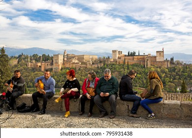 GRANADA, SPAIN, March 21, 2017: View of the Alhambra from Mirador de San Nicolas