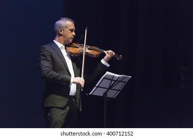 GRANADA - SPAIN, MARCH 6, 2016: 28 International tango festival of Granada. Pablo Agri, violinist.