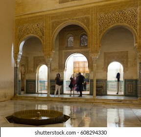 GRANADA, SPAIN - MAY 12, 2016: Courtyard of Gold Room (Cuarto dorado) of Alhambra.  Granada,  Spain