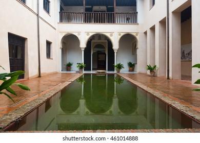 GRANADA, SPAIN - MAY 13, 2016: Court of house of Zafra  .  Granada,  Spain