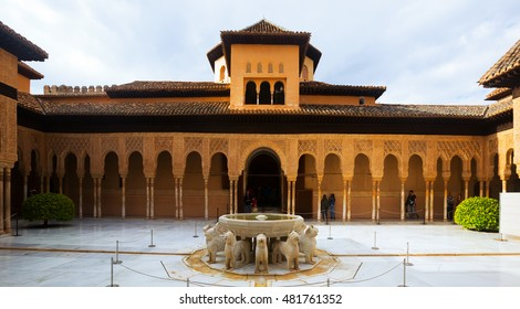 GRANADA, SPAIN - MAY 13, 2016:  Courtyard of the Lions(Patio de los Leones)in day time. Alhambra