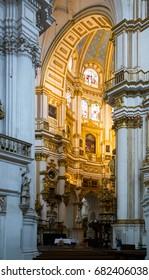 GRANADA, SPAIN - MAY 13, 2016:  Interior of   Cathedral of the Incarnation at Granada