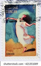 GRANADA, SPAIN - MAY 15, 2016: A stamp printed in USA shows Isadora Duncan, 2012