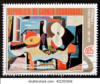 GRANADA, SPAIN - MAY 15, 2016: A stamp printed in Republic of Equatorial Guinea shows paint by Pablo Picasso, circa 1988