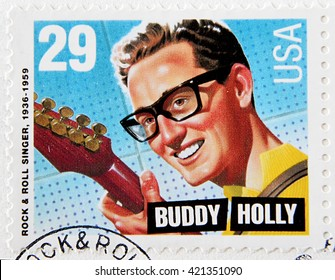 GRANADA, SPAIN - MAY 15, 2016: A stamp printed in USA shows Buddy Holly, circa 1993