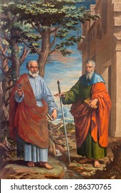 GRANADA, SPAIN - MAY 31, 2015: The painting of St. Paul and st. Peter in church Monasterio de la Cartuja by Fray Juan Sanchez Cotan (1560 - 1627) in Sala del S. Pablo y S. Pedro.