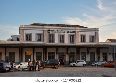 Granada / Spain — May 5, 2013: the building of the railway station of Granada (Estacion de Granada), Andalusia, Spain. The train station serves regional trains, as well as long-distance ones