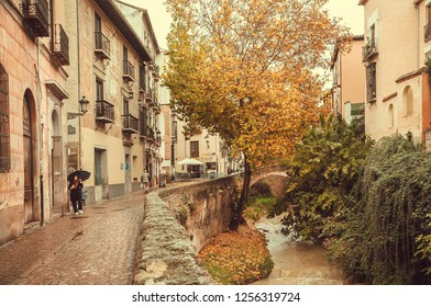 GRANADA, SPAIN - NOV 20: Yellow-red autumn trees around historical area of city in Andalusia with river bridge at rainy weather on November 20, 2018. Population of Granada is near 250,000