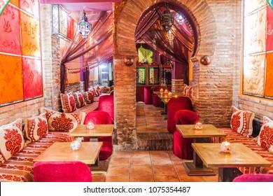 GRANADA, SPAIN - NOVEMBER 1, 2017: Interior of a teteria (teahouse) in Granada.