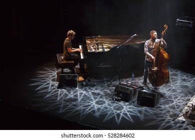 GRANADA, SPAIN - NOVEMBER 10 , 2016:  Gogo Penguin at 37 International Jazz Festival of Granada, Spain. Chris Illingworth, piano, Nick Blacka, bass, and Rob Turner, drums.