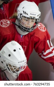 GRANADA - SPAIN, NOVEMBER 11, 2017: Ice hockey, Four Nations Tournament U18 Female, at Igloo Arena, Granada. Poland 5 - Great Britain 0.  Exit to the track of the Polish players after the break.