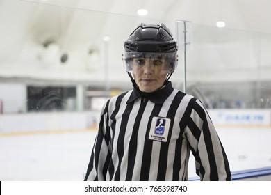 GRANADA - SPAIN, NOVEMBER 11, 2017: Ice hockey, Four Nations Tournament U18 Female, at Igloo Arena, Granada. Hungary 3- Spain 1. KATARZYNA, ZYGMUNT, main referee.