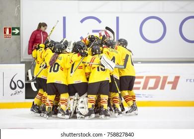 GRANADA - SPAIN, NOVEMBER 12, 2017: Ice hockey, Four Nations Tournament U18 Female, at Igloo Arena, Granada. The Spanish team celebrates the first goal.