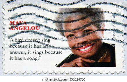 GRANADA, SPAIN - NOVEMBER 30, 2015: A stamp printed in USA shows Maya Angelou, 2015