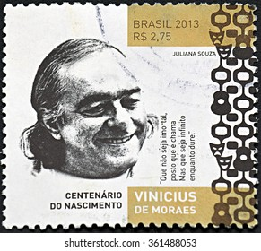 GRANADA, SPAIN - NOVEMBER 30, 2015: A stamp printed in Btrazil shows Vinicius de Moraes, 2013
