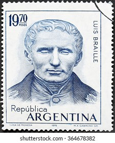GRANADA, SPAIN - NOVEMBER 30, 2015:  stamp printed in Argentina shows Louis Braille, Sesquicentennial of the Invention of the Braille System of Writing for the Blind, 1975