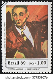 GRANADA, SPAIN - NOVEMBER 30, 2015: a stamp printed in Brazil shows Yellow Man by Anita Malfatti, 1989