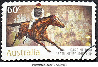 GRANADA, SPAIN - NOVEMBER 30, 2015: A Stamp printed in Australia shows the Carbine, 1890 Winner, 150th Melbourne Cup issue, 2010
