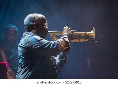 GRANADA, SPAIN - NOVEMBER 4 , 2016:  Terence Blanchard and The E-Collective, at 37 International Jazz Festival of Granada, Spain. T. Blanchard, trumpet.