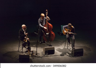 GRANADA - SPAIN, NOVEMBER 6, 2015: Stephane Belmondo trio at 36 Granada International jazz festival . Stepane Belmondo, trumpet, Thomas Bramiere, bass, and Jesse Van Ruller, guitar.