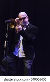 GRANADA - SPAIN, NOVEMBER 6, 2015: Stephane Belmondo trio at 36 Granada International jazz festival . Stepane Belmondo, trumpet.