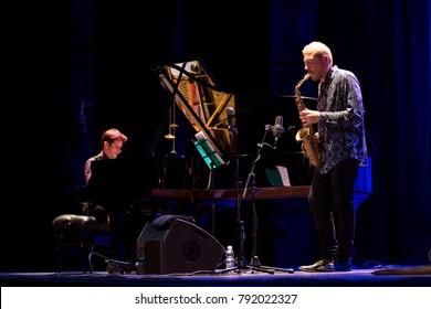 GRANADA, SPAIN - NOVEMBER 9, 2017: MAP, at the 38 International Jazz Festival of Granada. Marco Mezquida, piano, Ernesto Aurignac, saxophone.