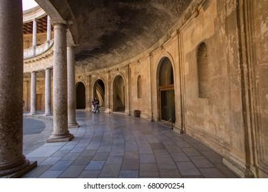 Granada, Spain - October 2 2015: Palace of Charles V, Granada, Spain - Great building inside the Alhambra