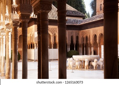 GRANADA, SPAIN-JENUARY 17, 2017: Many tourists visit La Alhambra in Granada. one of the most important monuments in the world on Jenuary 17, 2017