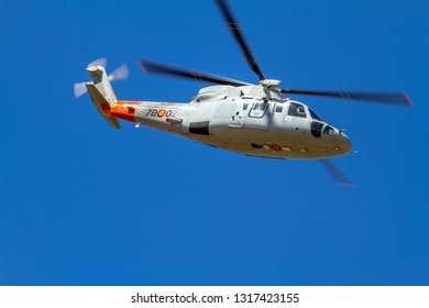 GRANADA, SPAIN-MAY 18:  Helicopter Sikorsky S-76C taking part in an exhibition on the X Aniversary of the Patrulla Aspa on the Airbase of Armilla on May 18, 2014, in Granada, Spain