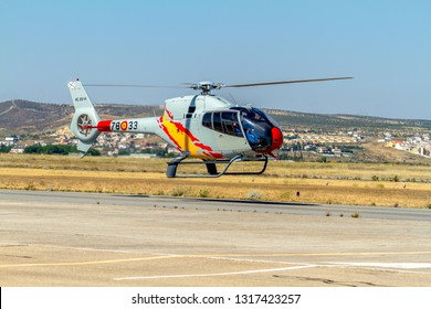GRANADA, SPAIN-MAY 18: Helicopters of the Patrulla Aspa taking part in a exhibition on the X Aniversary of the Patrulla Aspa of the airbase of Armilla on May 18, 2014, in Granada, Spain