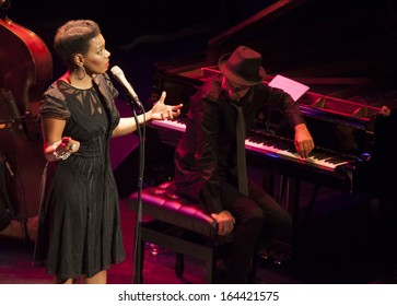 GRANADA, SPAIN-NOVEMBER 14: China Moses, Raphael Lemonnier (piano), at the XXXIV International Jazz Festival on November 14, 2013 in Granada, Spain