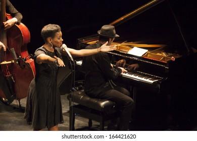 GRANADA, SPAIN-NOVEMBER 14: China Moses, Raphael Lemonnier (piano), at the XXXIV International Jazz Festival on November 14, 2013 in Granada, Spain