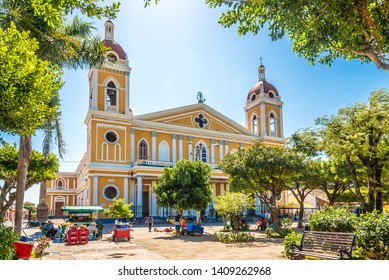 GRANADA,NICARAGUA - MARCH 17,2019 - View at the Cathedral Our Lady of the Assumption of Granada from Town Square. Granada is historically one of Nicaraguas most important cities.