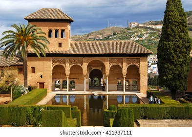 GRANADA,SPAIN - APRIL 11,2016: Garden of the Partal,Alhambra Palace,Granada,Spain.The Garden of the Partal covers the area between the exit of the Rauda and the esplanade where the Ladies Tower stands