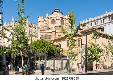 Granada,Spain-august 11, 2017:strolling in Granada near the cathedral during a sunny day.