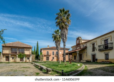 Granadilla, Caceres, Spain, April 2015: square of Granadilla,  village abandoned by the flood of the Gabriel y Galan reservoir in province of  Caceres
