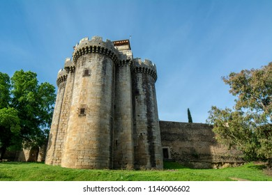 Granadilla, Caceres, Spain, April 2015: Granadilla old Castle very well conservated  of village abandoned by the flood of the Gabriel y Galan reservoir in province of  Caceres