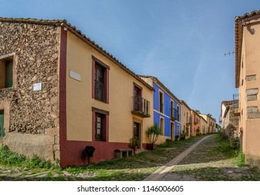 Granadilla, Caceres, Spain, April 2015: street of Granadilla,  village abandoned by the flood of the Gabriel y Galan reservoir in province of  Caceres
