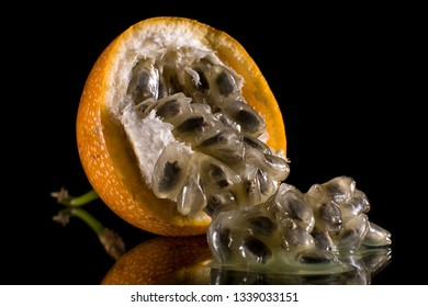granadilla also called passion fruit closeup