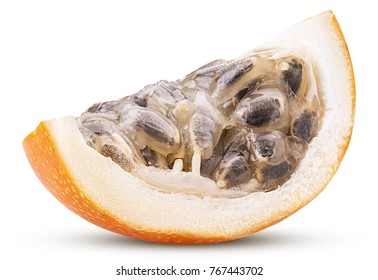 Granadilla fruit slice isolated on white background. Clipping Path. Full depth of field.