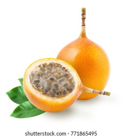 Granadilla or grenadia passion fruit with leaves isolated on white background. Clipping path included