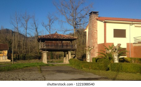 Granary of Asturias raised by pillars and called horreo in Galicia, Spain.